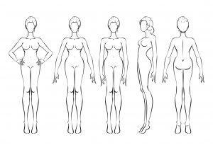 Brust, Hüfte und Beine entwickeln sich während der Pubertät bei Mädchen und der weibliche Körper bildet sich stärker aus.