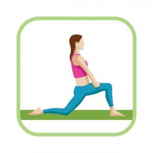 Mit dieser Übung lässt sich der Oberschenkel und die Hüfte dehnen.